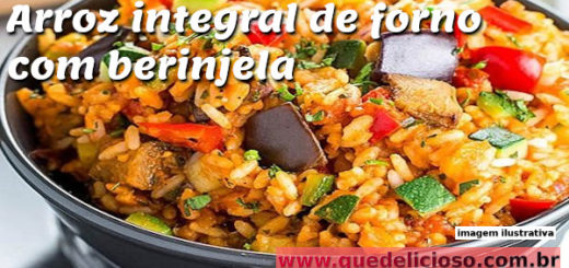 arroz integral de forno com berinjela